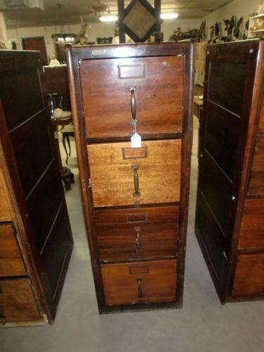 Antique Wood File Cabinet Ebay
