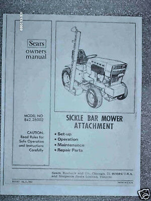 842.26002-sears Suburban Tractor- Sickle Bar Mower Owners Manual On Cd