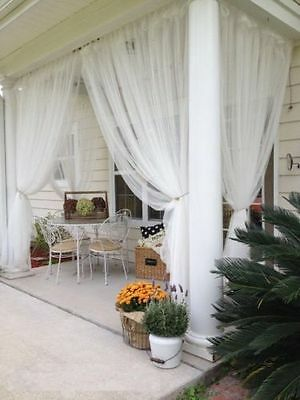 """IKEA Lill Sheer Curtains 1 Pair 2 Panels 98 """" x 110 """" White Outdoor Indoor NEW"""