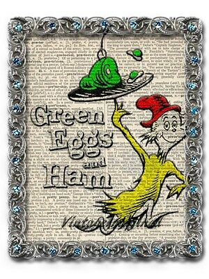 Dr. Suess green eggs and ham art print on vintage dictionary page 8x10