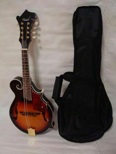 Free Gig Bag Hand Carved Solid Spruce Top F Style Mandolin, Sunburst