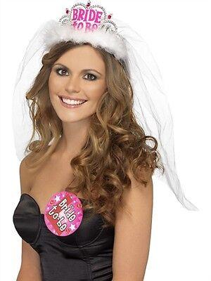 Bachelorette Party Favors BRIDE TO BE TIARA w/ VEIL WHITE](Bachelorette Tiara)