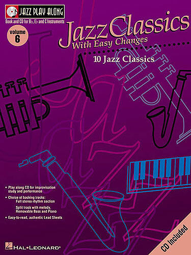 Jazz Play Along Classics & Easy Changes Clarinet Sax Saxophone Flute Music Book