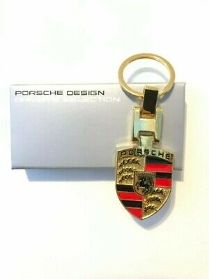 Gold Porsche Dual Sided Metal Chrome Crest Key Ring Key Chain
