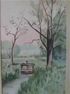 Signed F I B 05 Watercolor River Scene