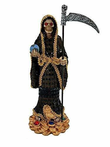 "13"" Santa Muerte Black Statue Holy Death Grim Reaper Skull Skeleton Negra"