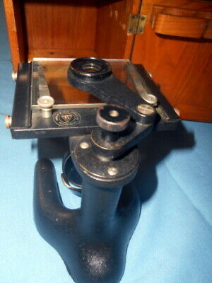 Vintage Bausch Lomb Microscope Dovetailed Wood Case - Monocular Slide Viewer