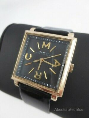 NEW Marc Jacobs Women's Truman Watch Gold Tone Watch Black Band MBM1279 NIB