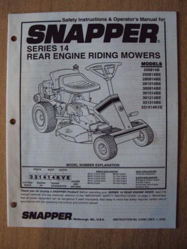 snapper riding mower manual | ebay snapper mower schematics