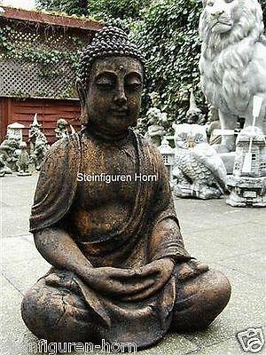 ANTIK BUDDHA PATINIERT GROß aus STEINGUß für KOI TEICH 4014 GARTEN FIGUR