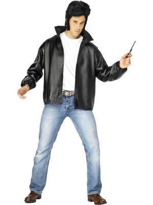 Men's 50's Kostüme (T-Birds 50s Grease Tbird Fancy Dress Costume Black Leather Look Mens Jacket)