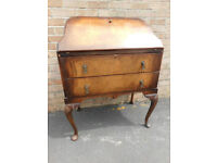 Antique queen anne style writing bureau, 2 drawers, drop down leather insert desk