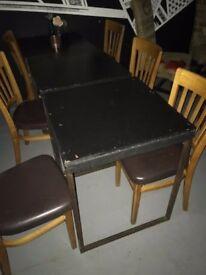5 x School Tables, Wooden Top, Metal Base. Vintage 1950's. Inside Use.