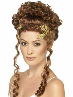 ROMAN GREEK GODDESS ATHENA GOLD LAUREL LEAF COSTUME WREATH HEADPIECE CROWN LADY - Greek Lady Costume