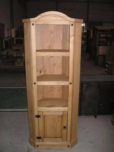 Corona Corner Display Unit Bookcase Mexican Solid Pine Rustic