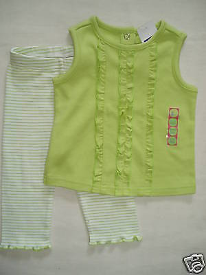 Vintage Mädchen Tank Top (Gymboree FRUIT PUNCH Green Tank Top Striped Legging Pant NWT 6-12 VINTAGE 6 9 12)