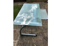 LARGE GLASS DESK WITH RETRACTABLE LAP TOP SHELF VERY GOOD USED CONDITION