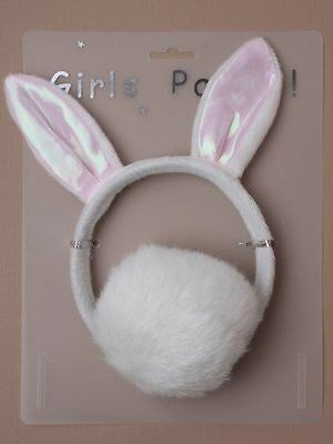 Rosa und Weiß Kaninchen Ohren mit Schweif, Hen Party Kostüm Kinder - Hen Party Kostüm
