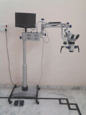 3 Step Dental Microscope Wit Accessories Led Monitor - Silver - Free Shipping