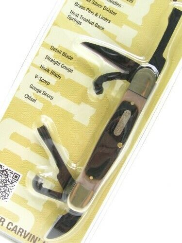 Schrade 24OT Old Timer Splinter Carvin 6 Blade Wood Work Pocket Carving Knife