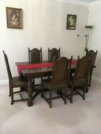 A SET OF SIX OAK AND LEATHER HIGH BACK VINTAGE/ANTIQUE DINING CHAIRS GREAT PRE-LOVED CONDITION