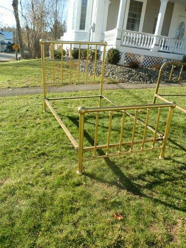 Beautiful Brass Bed W/Original Cast Iron Rails