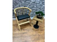 Heavy Duty Contract Quality Light Wood Chair and Cushioned Seat Cafe Bar Bistro