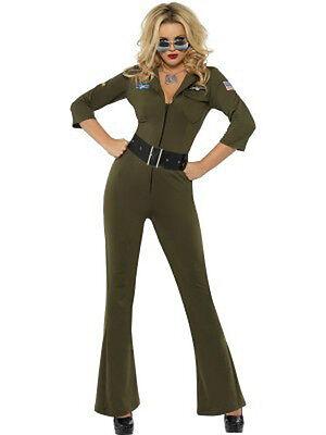 Top Gun Hottie Aviator, Green Jumpsuit and Belt - Womens Adult Movie Costume (Green Jumpsuit Costume)