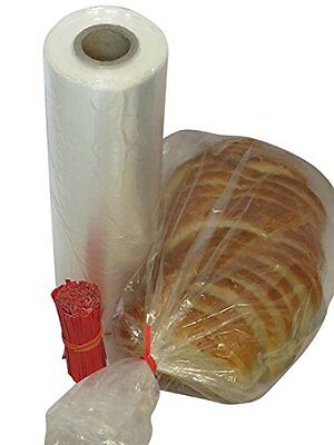 Plastic bread Grocery Clear Bag on Roll 12x20 1 cs appx. 350 bags Twist Ties