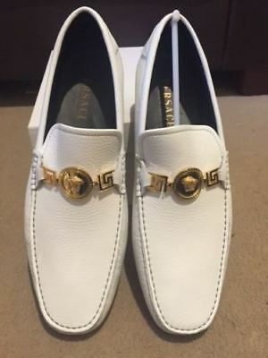 Versace Medusa White Leather Driving Shoes Loafers UK 6/EU 40