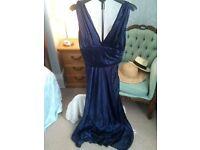 Vintage Hollywood Style Royal Blue Satin Plunge Maxi Prom Dress Oli Size 12