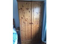 2 x pine wardrobes with draw