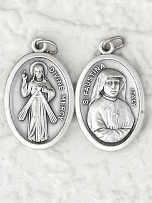 """St Faustina / Divine Mercy Oxidized Medal (7/8"""" x5/8"""")"""