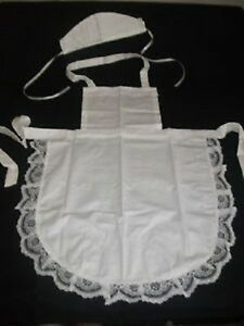 CHILDS GIRLS WHITE FULL APRON LACE /HAT /VICTORIAN EDWARDIAN MAID fancydress
