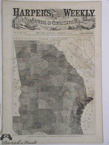 Map Of Georgia, Showing The Percentage Of Slaves In Each County Harper