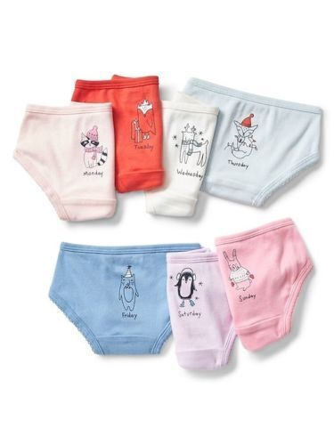NWT BABY GAP Animals 7 pr DAYS OF THE WEEK Bikini Briefs Underwear sz 2-3 OR 4-5
