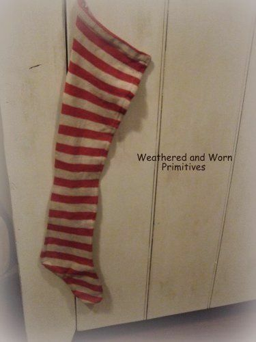 """Primitive Aged Fabric Red & White Striped Faux Wool Christmas Stocking 29"""" Long"""
