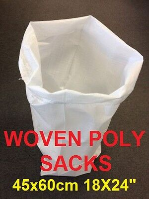 5 White Woven Polypropylene Sandbags Sacks Flood Defence Sand Bags 18X24