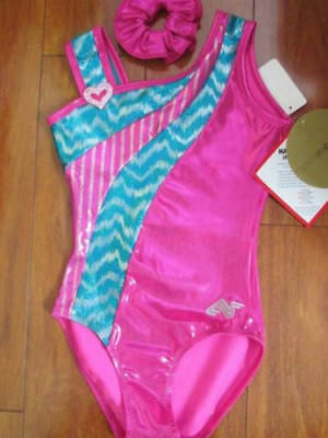 NWOS FOIL Shorty unitard Pink or Lime chained Hearts Gymnastics Acro crisscross