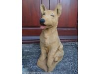 Vintage Large Golden German Shepherd Stone Dog Called Sam Garden Ornament