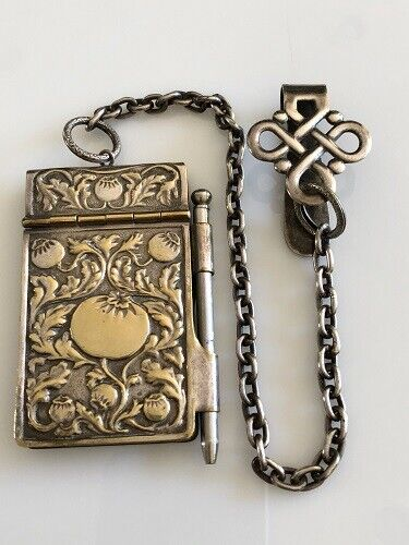 ANTIQUE SILVER CHATELAINE DANCE CARD AND NOTE BOOK WITH NOTE BOOK AND PENCIL