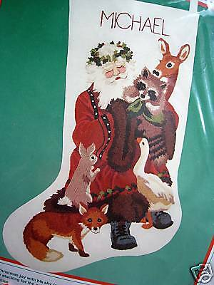 Holiday Santa Stocking (Christmas Dimensions Holiday Crewel Stitchery Stocking KIT,WOODLAND SANTA,8069 )