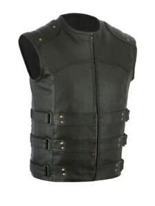 NEW - Black Leather Motorcycle Vest  - XL, but fits like a Large