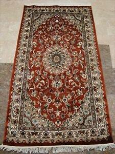 Burnt Orange Rust Flowers Rectangle Area Rug Hand Knotted Wool Silk Carpet (5 x 3)'