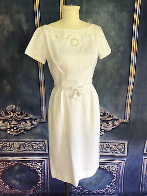 Vintage 1960's GAY GIBSON Floral Embellished Tulip Dress SMALL Boat Neck Pencil