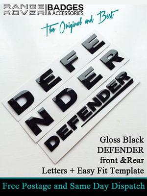 Land Rover DEFENDER FRONT & REAR GLOSS BLACK 3D Lettering Badge Emblem 90 110