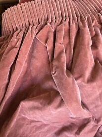 Velvet look pink curtains