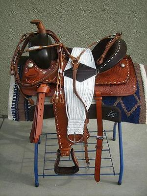 """15"""" NEW BUCKSTITCHED TAN LEATHER WESTERN SADDLE PACKAGE POCO SET"""