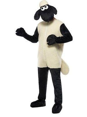 Mens Licensed Shaun the Sheep Costume TV Fun Cartoon Nick Park Jumpsuit & Head - Mens Sheep Costume