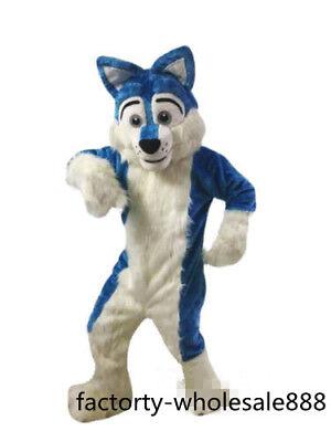 Halloween Long Fur Blue Husky Dog Mascot Costume Fox Adult Fancy Dress Handmade